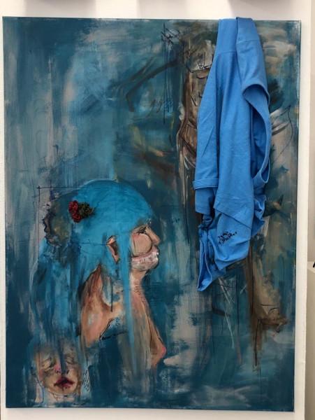 Gabrielle Gomez, Acrylic, paint, marker, T-Shirt, yarn