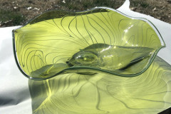 "Alexandra Dulle, Friend, ""Olive Green Platter"", 2020, Glass, 5x16, $300, 50%"