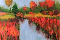 """Ann Guyer, Trustee, """"NE BIOLABS BY THE BRIDGE"""", 2016, Paintings, 16x20, $1200 50%"""