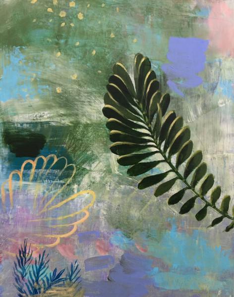 Barbara Moody - Frond - 2018 - acrylic on panel - 15x12 - $350