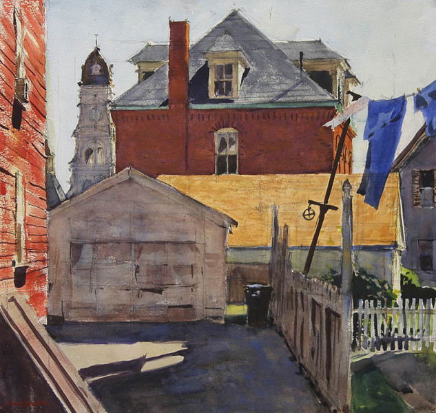 Jeffrey Weaver - Buildings with City Hall, Gloucester - 2017 - Watercolor - 17x19 - $2,800 - Courtesy of Jeff Weaver Gallery