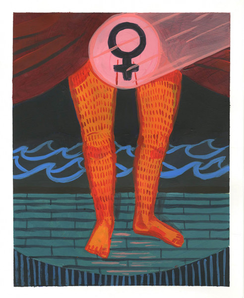 Allison Heckman - The Gender Theater - 2018 - Acrylic - 10x8 - $100