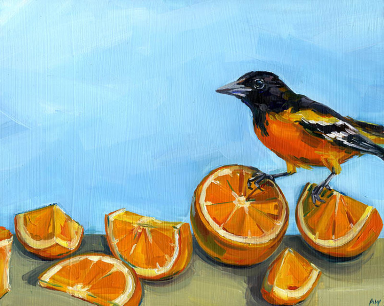Alyssa Watters - Oriole Snack - 2019 - Oil on Panel - 8x10 - $450