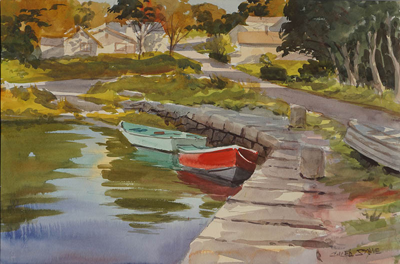 "Caleb Stone- ""Autumn Lane's Cove"" 15"" x 22"" Watercolor"