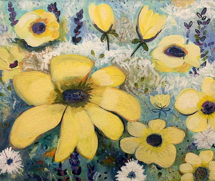 Jan Colby - Black Eyed Susans 2018 -Acrylic on Canvas- 20x24 - $500 - Courtesy of Zenobia
