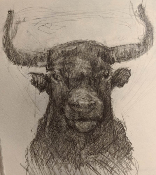 Jeffrey Casto - Minotaur - 2019 - Pencil on Paper - 5x4 - $100