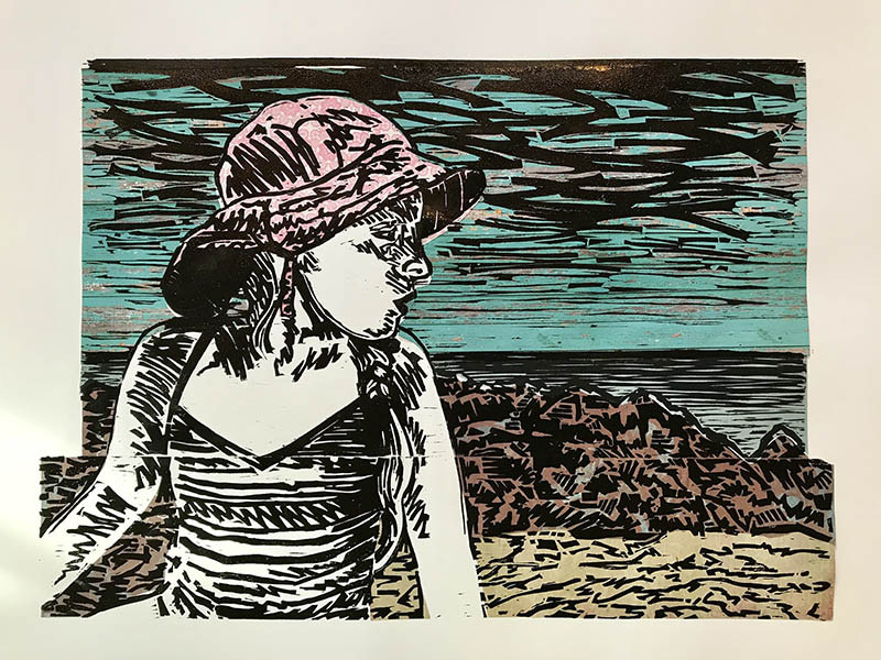 Jennifer Groeber - Watching - 2018 - Woodcut and collage on paper - 16x22 - $975 - Courtesy of Paula Estey Gallery, Newburyport