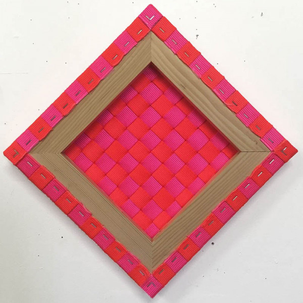 Jesse Kahn - Weaving Painting Lozenge - 2016 - polypropylene, staples, wood - 17x17 - $400
