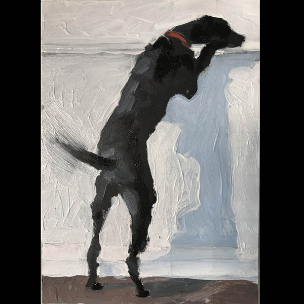 John Bonner - Curious Dog - 2019 - oil on board - 7x5 - $450