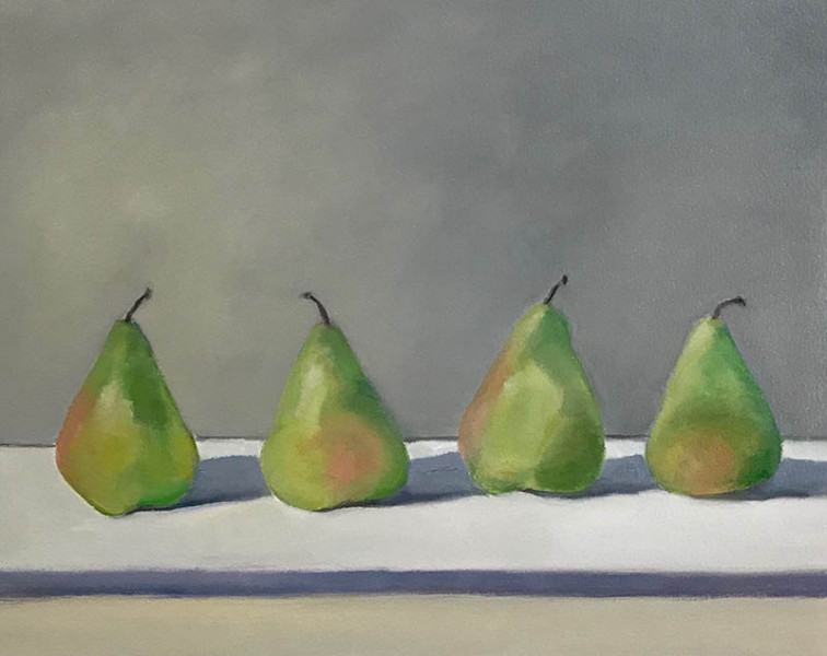 Laura Fischman - Four Pears - 2018 - Oil on Paper over Panel - 11x14 - $850
