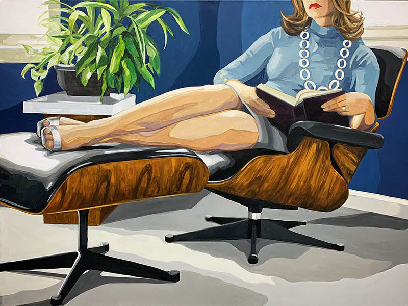 Leslie Graff - reading between the lines - 2018 - acrylic on cnavas - 30x40 - $2700