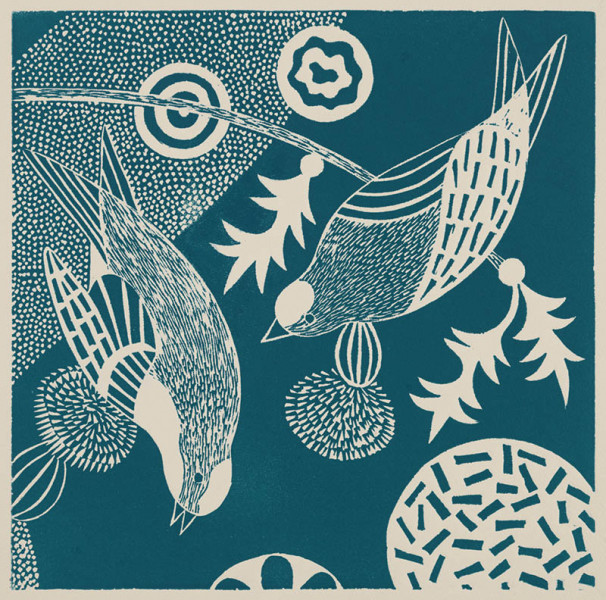 Lisa Houck - Chittering and Chattering IV (ed 4 of 10) - 2015 - Linoleum Block Print - 18x18 - $400 - Courtesy of Beth Urdang Gallery