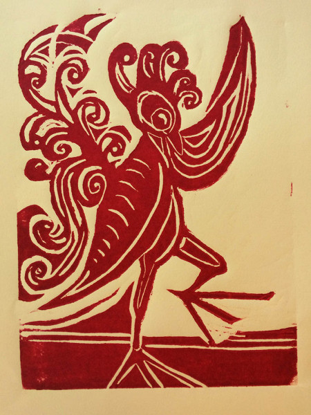 Lulu Wootton - Dance of the Chicken to Pheonix - 2019 - Archival Aqua Ink and Rives Paper - 19x13 - $185