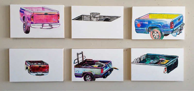 "Jeffrey Marshall-Truck Set (Beds # 24-29)- 2018- Grease Pencil on Yupo paper- Mounted on Wood, 11""x17"" each-$3,000"