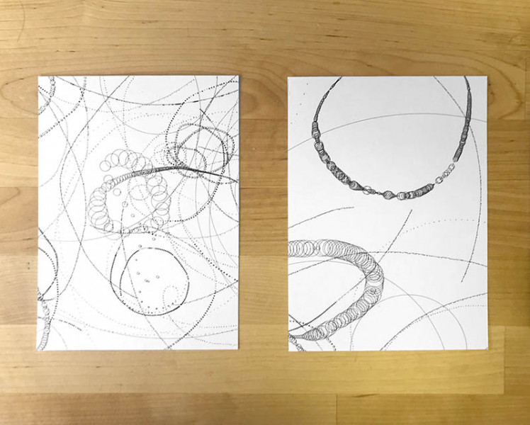 Sarah Trahan - Brainwave Diptych - 2019 - digitally plotted ink on paper - 5x7 - $350