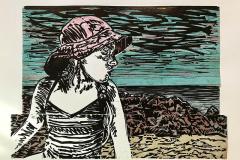 Jennifer Groeber - Watching - 2018 - Woodcut and collage on paper - 16x22 - $975 - Courtesy of Paula Estey Gallery, Newburyport