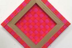 Jesse Kahn - Weaving Painting Lozenge - 2016 - polypropylene, staples, wood - 17x17 - $400