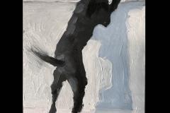 John Bonner - Curious Dog - 2019 - oil on board - 7x5 - $450