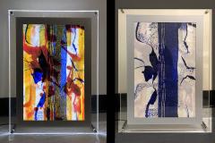 Judy Schmid - blue-morph - 2019 - illuminated monotype - 21x15x3 - $600