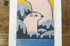 Victoria Paulette - Sunset on the Icecaps - 2018 - Reductive Woodblock - 15x9 - $200