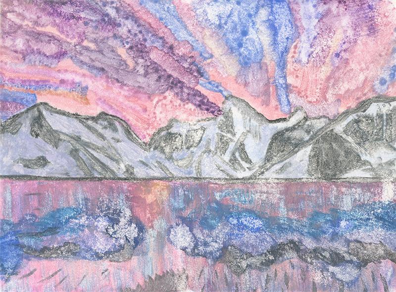 Mountain Landscape Mono Print