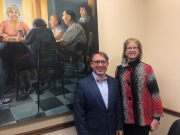 President Kurt with Senator Joan Lovely meeting to discuss higher education concerns in our community.