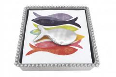 Shimmer Fish Beaded Napkin Box, $49