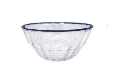 Urchin Textured Small Bowl Cobalt Rim  4,  $49