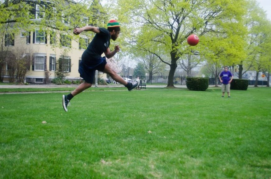 Faculty Versus Staff Kickball Game on the Commons