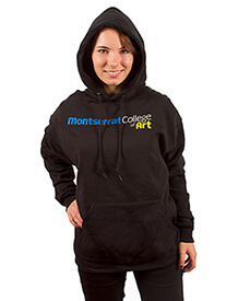Hooded Pullover Black with Logo