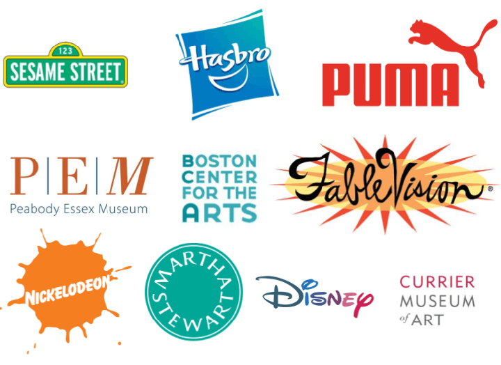 Sesame Street, Hasbro, Puma, Peabody Essex Museum, Boston Center for the Arts, Fablevision, Nickelodeon, Martha Stewart OmniMedia, Disney, Currier Museum of Art, John Hall Design Group, Cochran/National Gallery, New England Aquarium, Printed Matter, Inc., Goosefish Press, MullenLowe.